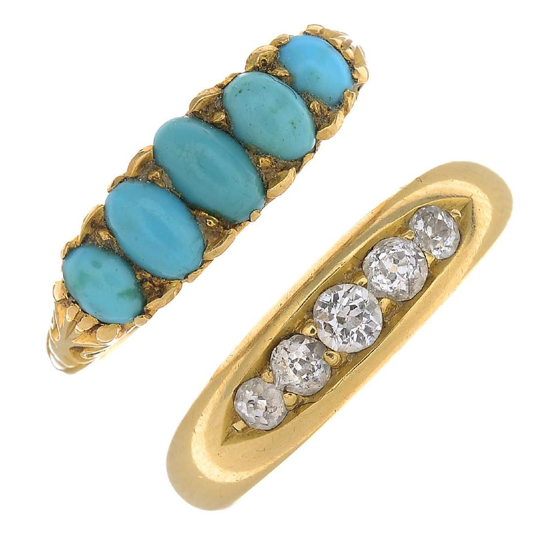 Two diamond and gem-set rings. To include a late