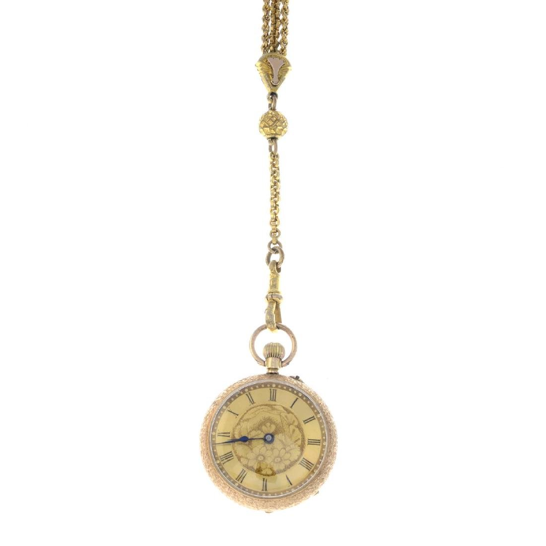 An early 20th century 14ct gold enamel fob watch. The