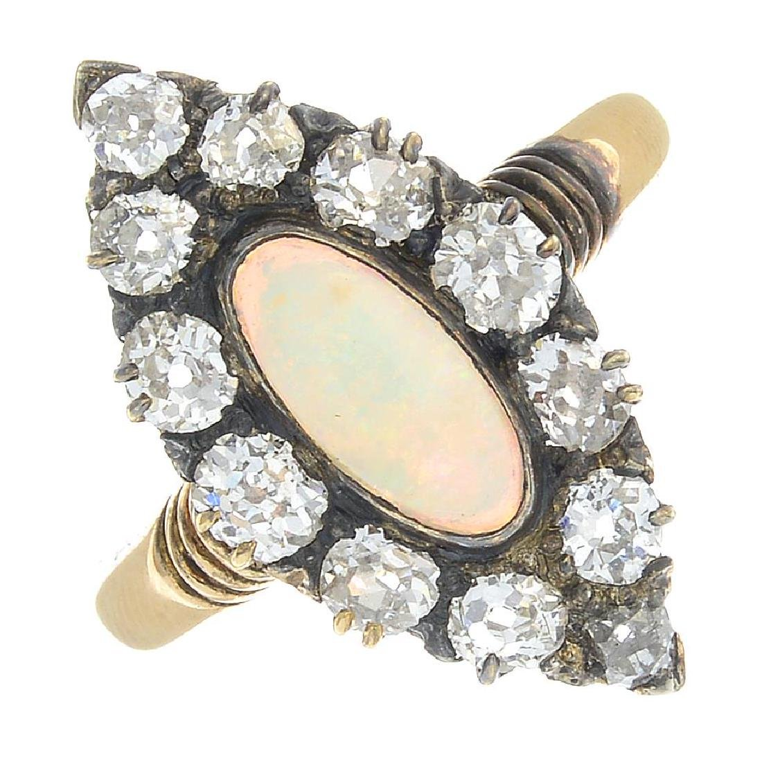A late Victorian 18ct gold opal and diamond cluster