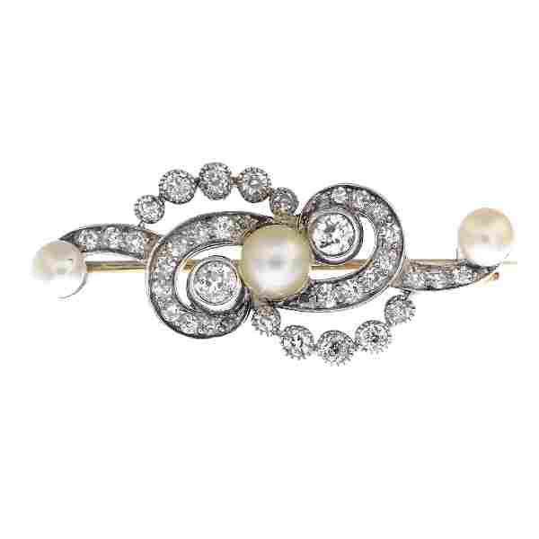An early 20th century silver and gold, pearl and