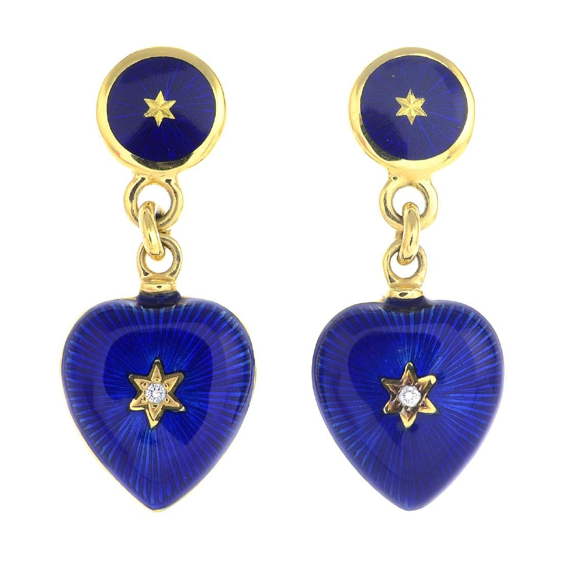 FABERGE - a pair of enamel and diamond earrings. Each