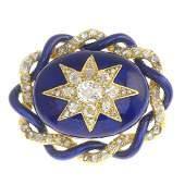 A late Victorian gold diamond and enamel brooch. The