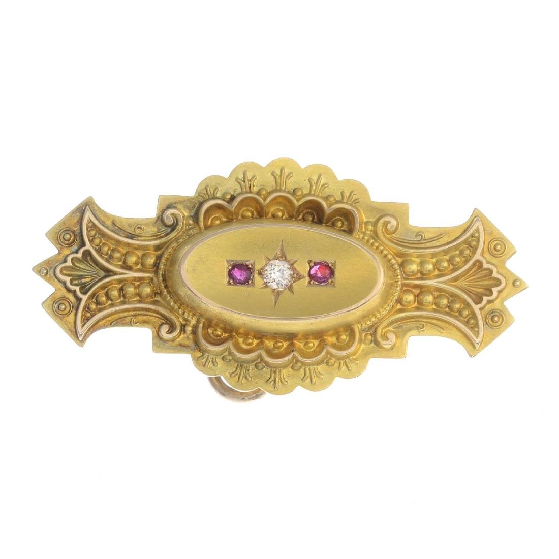 A late Victorian 15ct gold diamond and ruby brooch. The