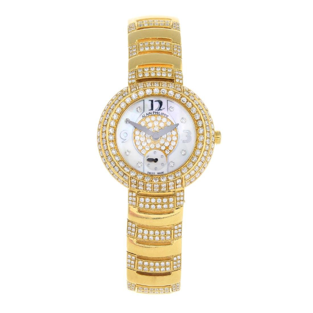 ALAIN PHILIPPE - an 18ct gold diamond wrist watch. The
