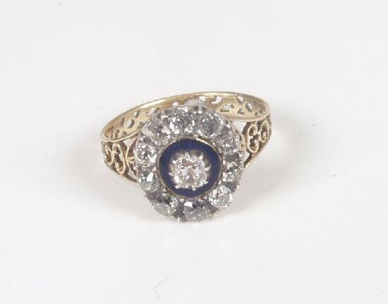 1020: Georgian old cut diamond cluster ring w