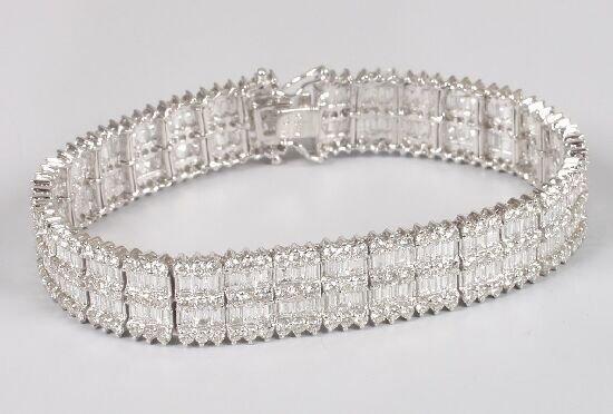 1297: 18ct white gold all diamond bracelet of