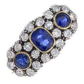 A late Victorian silver and 18ct gold, sapphire and