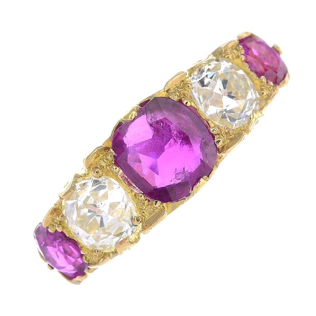 A late Victorian 18ct gold Burmese ruby and diamond