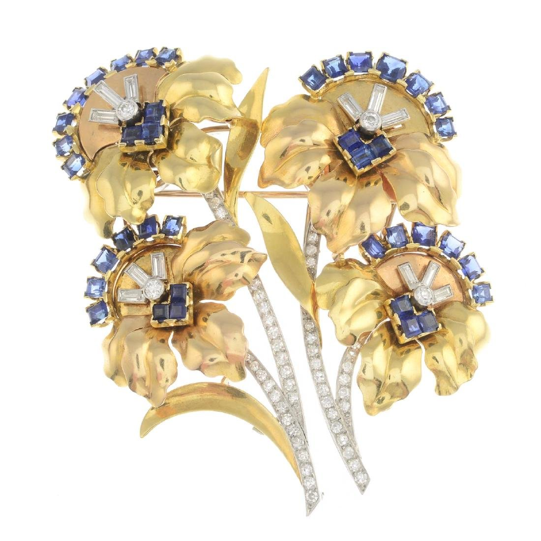 A 1940s 18ct gold and platinum, sapphire and diamond