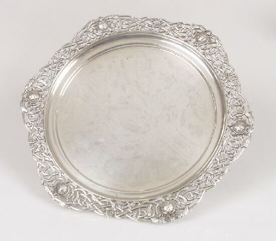 2024: A silver dish with applied Celtic pierc