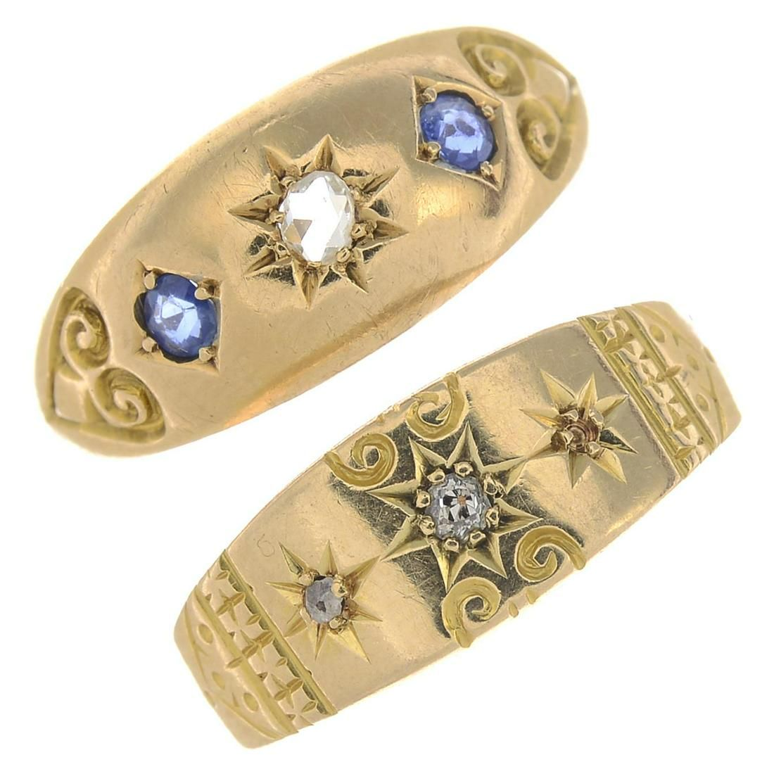 Two late Victorian 18ct gold diamond and gem-set