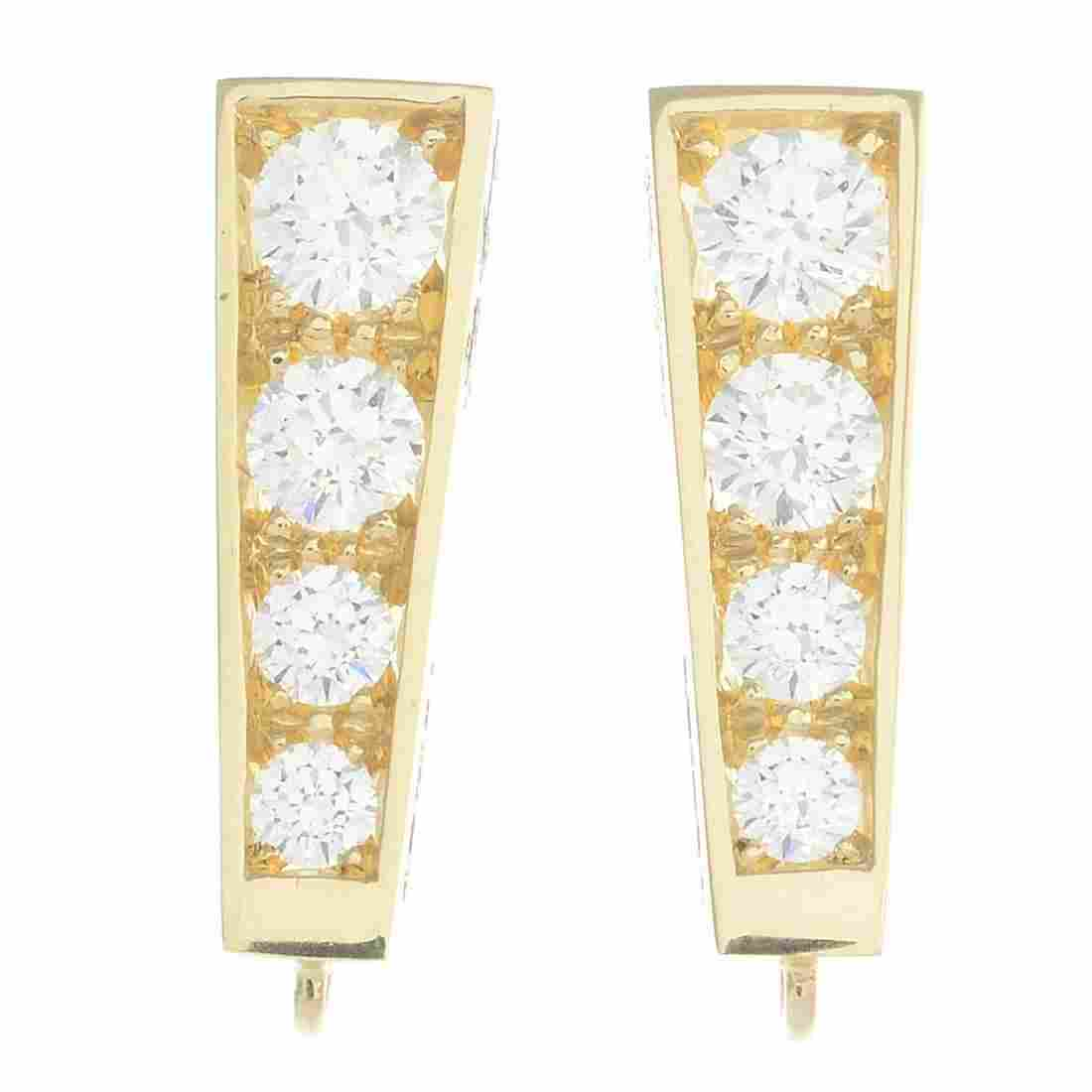 A pair of 18ct gold diamond and gem-set interchangeable