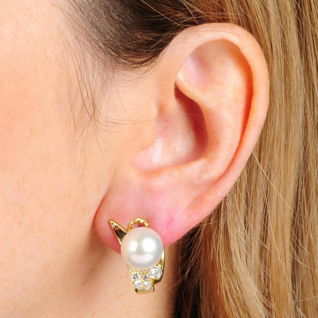 A pair of 18ct gold, cultured pearl and diamond