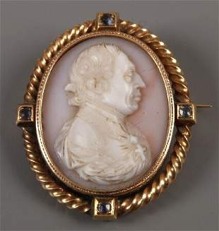 Victorian 9ct rose gold framed cameo of the head and