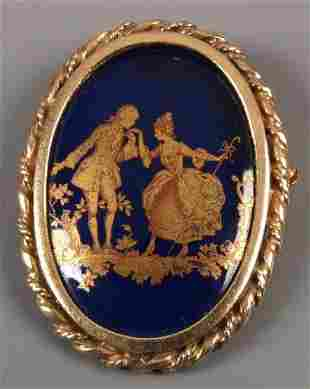 9ct yellow gold framed blue and 'gold' enamel on por