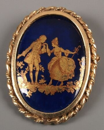 3: 9ct yellow gold framed blue and 'gold' enamel on por