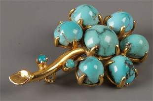 A matrix turquoise seven stone set flower brooch - b