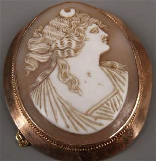 9ct rose gold framed cameo of the head and shoulders