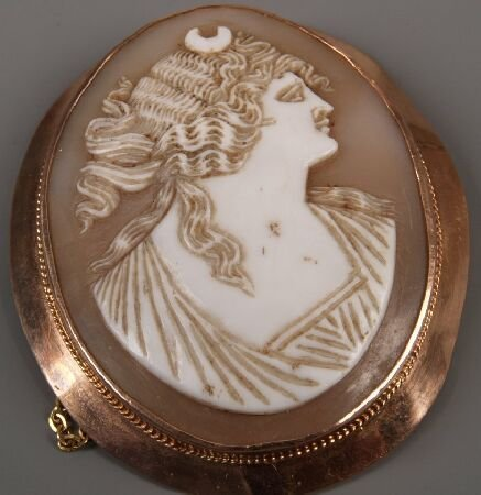 6: 9ct rose gold framed cameo of the head and shoulders