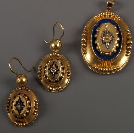 11: Pair of Victorian gold oval drop earrings with 'ble