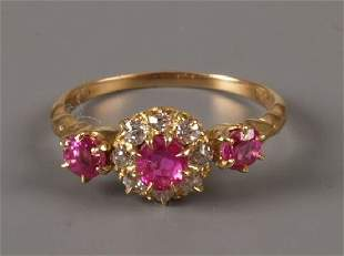 18ct gold pink sapphire and old cut diamond nine st