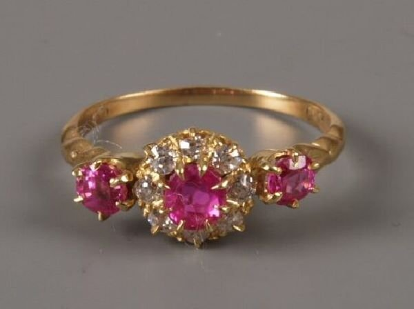 14: 18ct gold pink sapphire and old cut diamond nine st