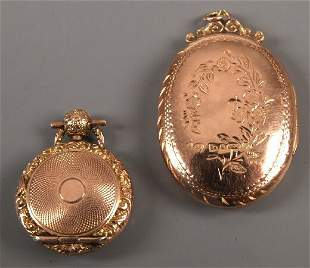 9ct rose gold oval portrait locket with engraved fl
