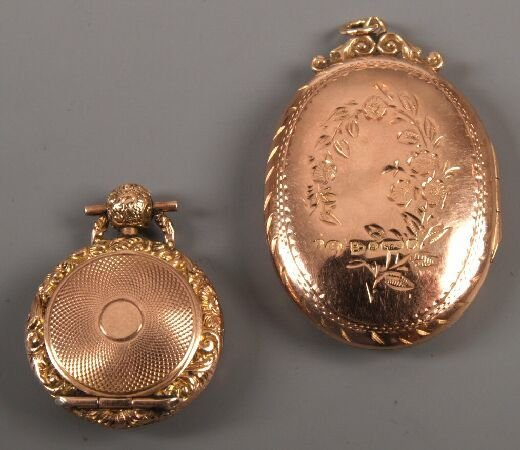 16: 9ct rose gold oval portrait locket with engraved fl