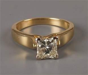 Single stone princess cut diamond ring of some 0.85