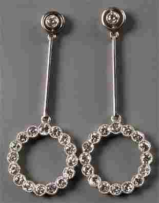A pair of diamond set dropper earrings of Art Deco