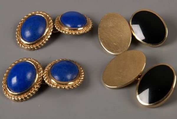 23: Two pairs of 9ct gold chain connecting cuff links s