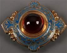 676 Victorian fancy blue enamel lozenge shape brooch w