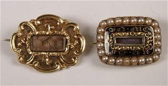 861 Two Victorian mourning brooches to include a broo