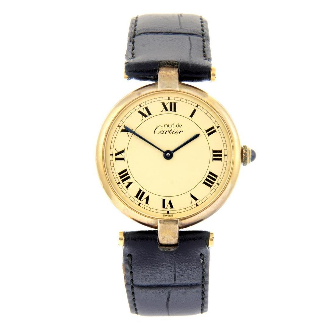 CARTIER - a Must De Cartier wrist watch. Gold plated