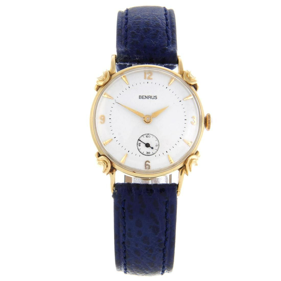 BENRUS - a mid-size wrist watch. Yellow metal case,