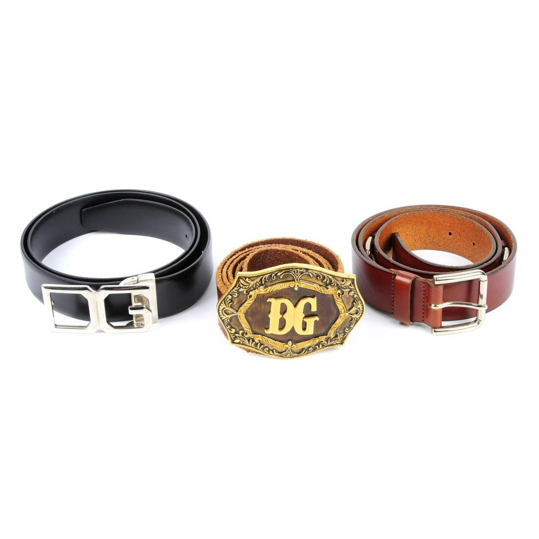 DOLCE & GABBANA - three belts. To include a black
