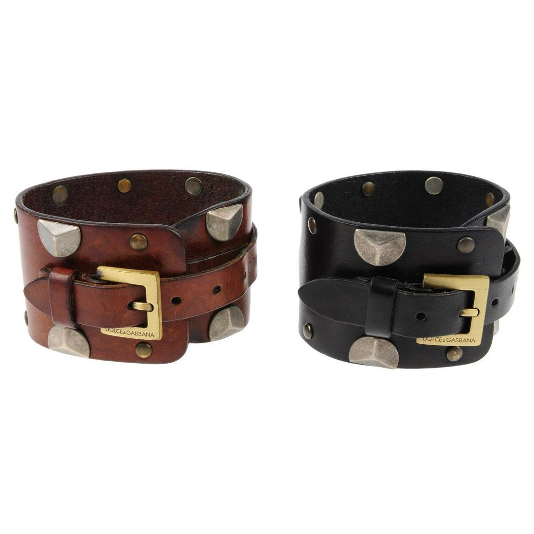 DOLCE & GABBANA - two leather cuffs. Both of the same