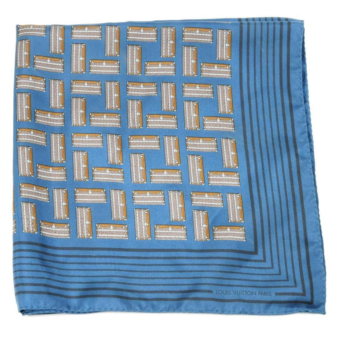 LOUIS VUITTON - a square silk teal scarf. Featuring a