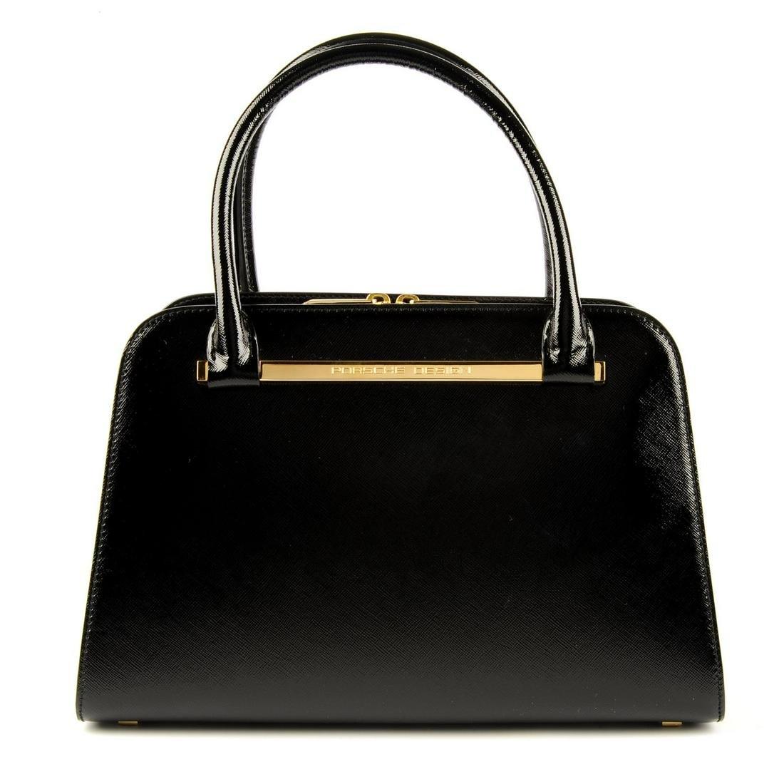 PORSCHE DESIGN - a black patent Saffiano TwinBag Mini