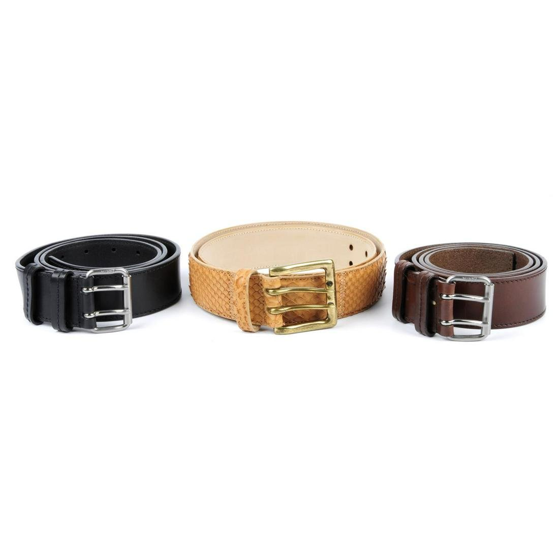 Three designer belts. To include a brown leather belt