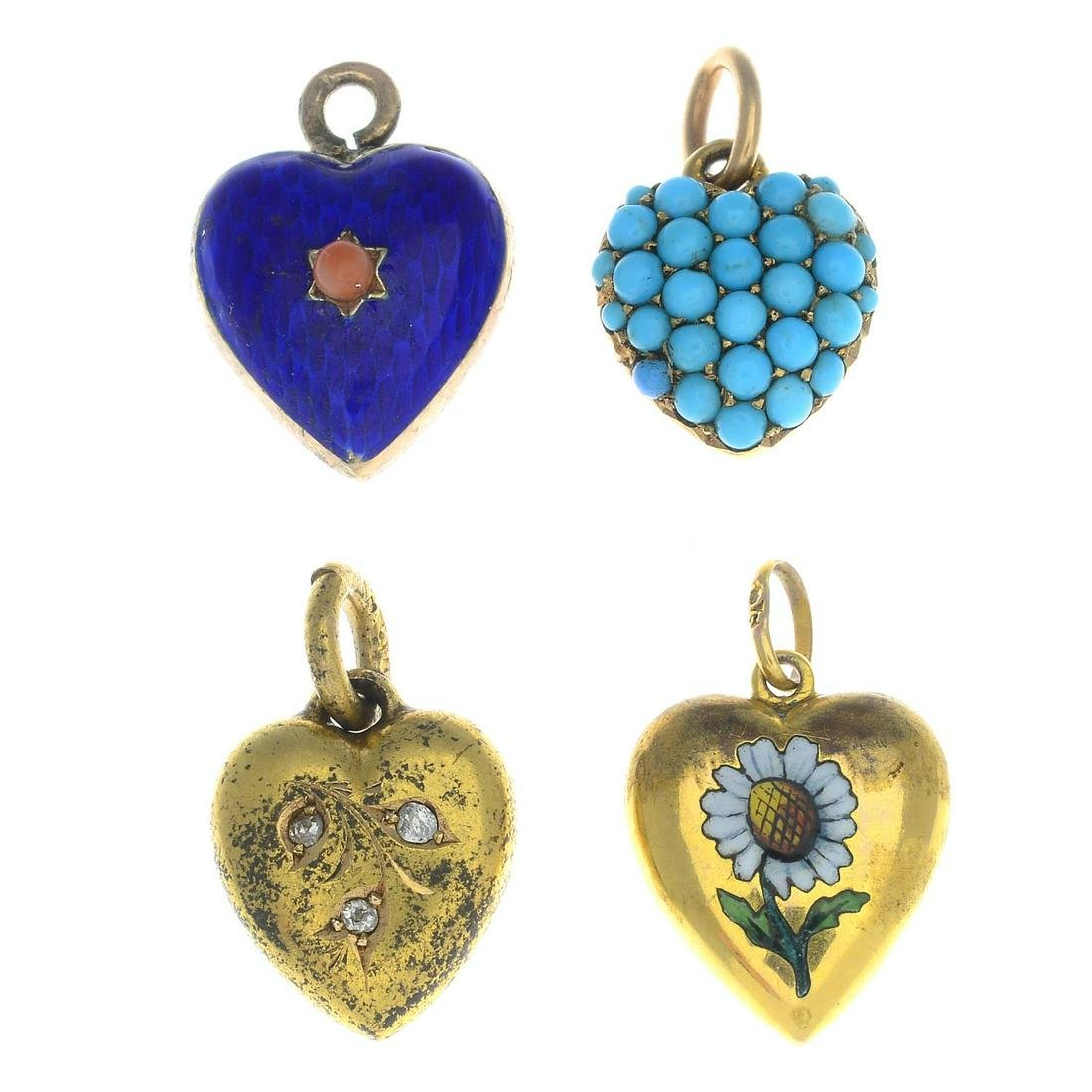 Four late Victorian to early 20th century gold enamel,