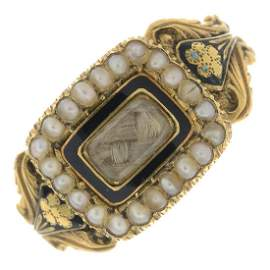 A William IV 18ct gold split pearl, enamel and woven