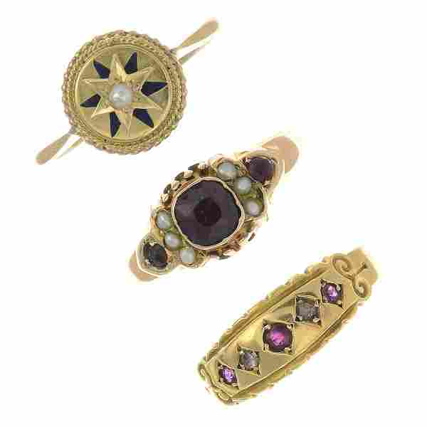A late Victorian 18ct gold ruby and diamond ring, a