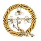 A late 19th century Austrian 18ct gold seed pearl and