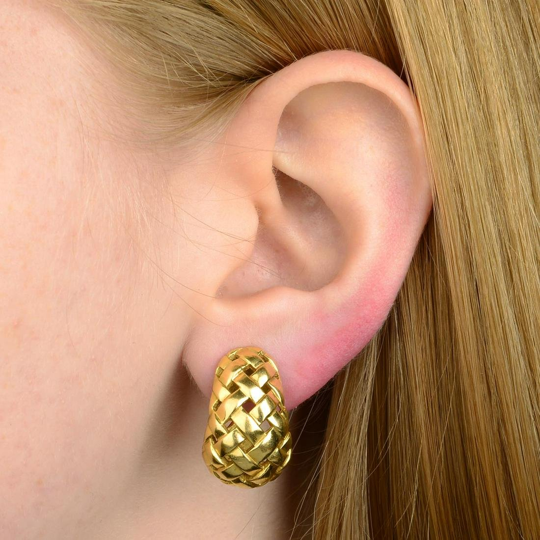 A pair of 18ct gold woven earrings, by Tiffany & Co.