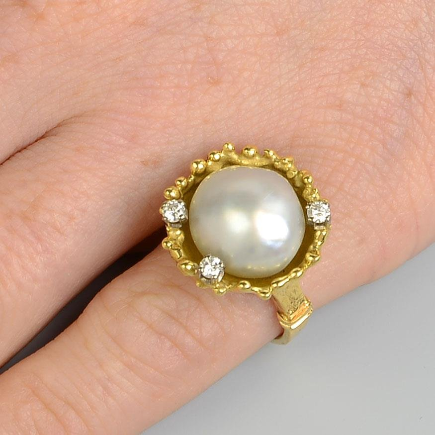 A pair of 1970s 18ct gold baroque cultured pearl and