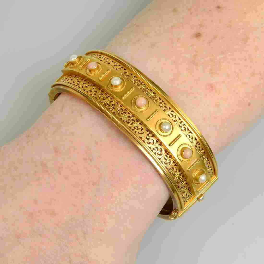 A late Victorian 15ct gold coral and split pearl hinged