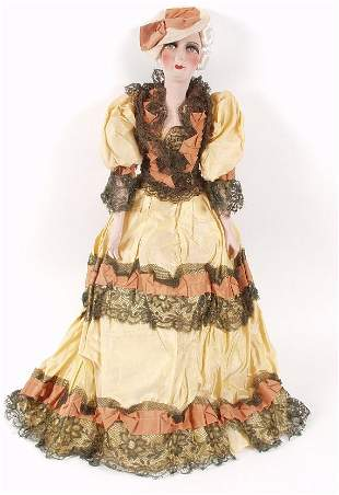 A large early 20th century boudoir doll, w