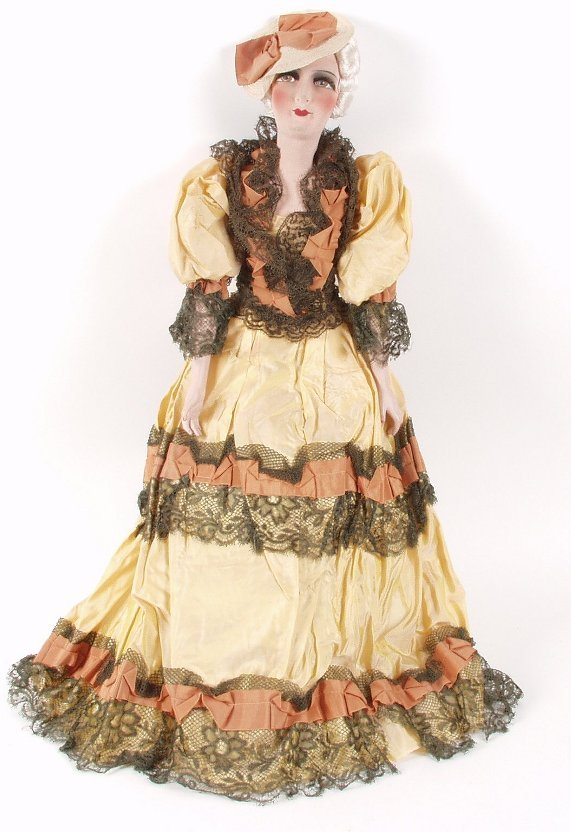 1: A large early 20th century boudoir doll, w