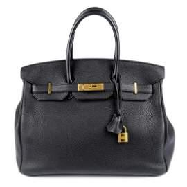HERMÈS - a 2015 black Birkin 35 handbag. Featuring a